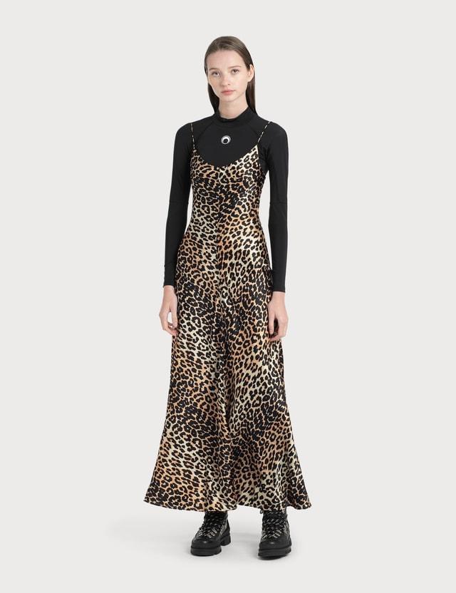 Ganni 실크 스트레치 새틴 슬립 드레스 Leopard Women