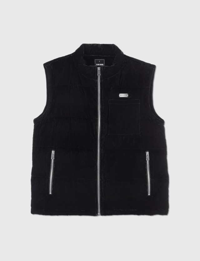 Team Wang Printed Logo Velvet Down Vest Black Men