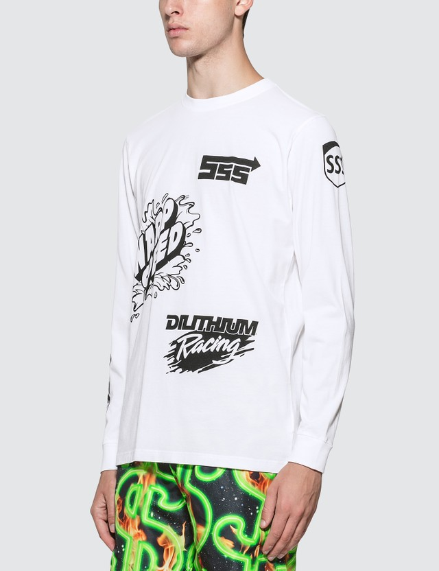 SSS World Corp Sponsors Multiprint Long Sleeve T-Shirt White Men