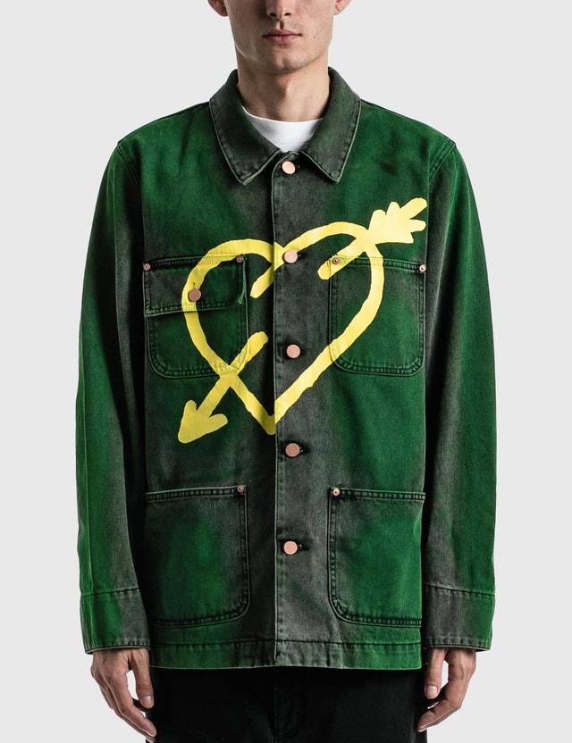 Palm Angels Pierced Heart Workwear Jacket Green Men