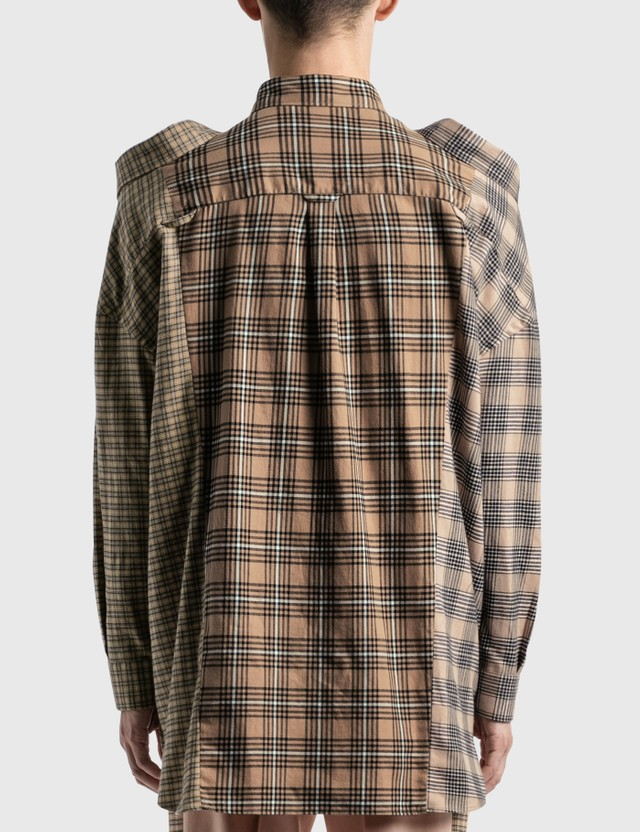 Burberry Contrast Check Cotton Flannel Reconstructed 셔츠 Camel Check Men
