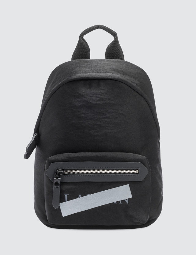 Lanvin Satin Nylon Logo Zipped Backpack