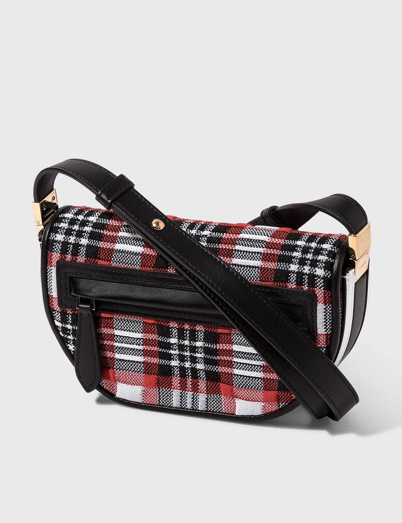 Burberry MINI KNITTED TARTAN AND LEATHER OLYMPIA BAG