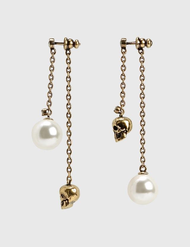 Alexander McQueen Pearl-like Skull Chain Drop Earring Gold Women