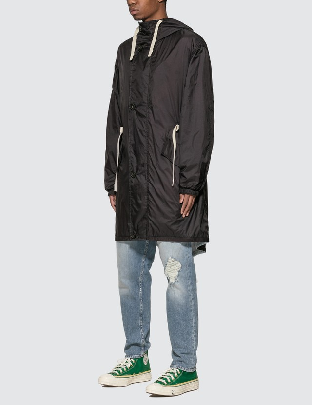 Acne Studios Ripstop Fishtail Parka Black/powder Blue Men