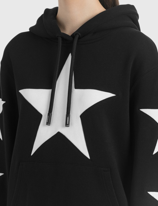 Burberry Star Motif Cotton Oversized Hoodie Black Women