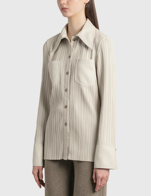Nanushka Blaine Pleated Vegan Leather Shirt CrÈme Pleat Women