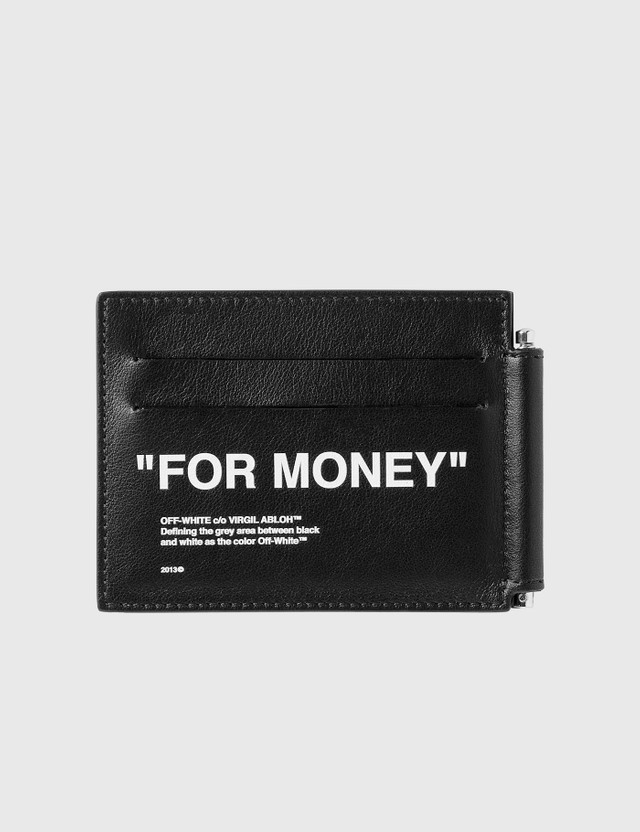 Off-White Calfskin Quote Bill Clip Wallet Black Men