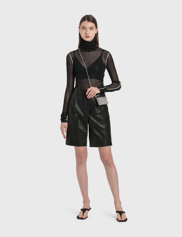 Helmut Lang Leather Wrap Shorts Onyx Women