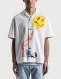 Palm Angels Juggler Pin Up Bowling Shirt White Men