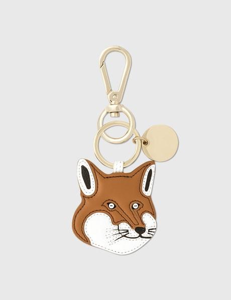 메종 키츠네 폭스헤더 키링 Maison Kitsune Fox Head Leather Keyring