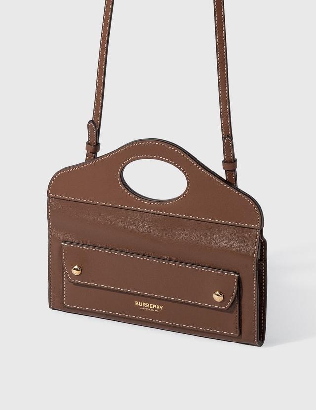 Burberry Mini Topstitched Lambskin Pocket Clutch Malt Brown Women
