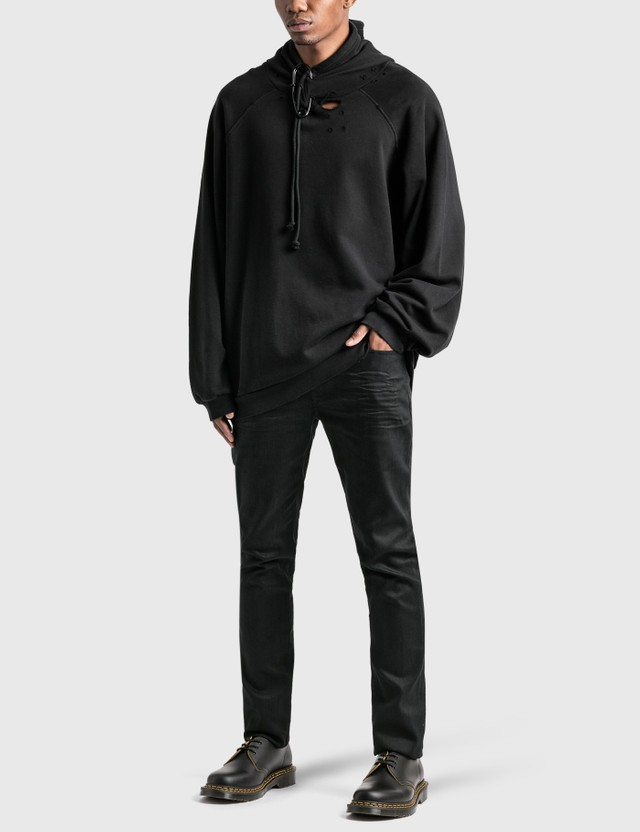 Raf Simons Destroyed Oversized Hoodie With Big Pin Black Men