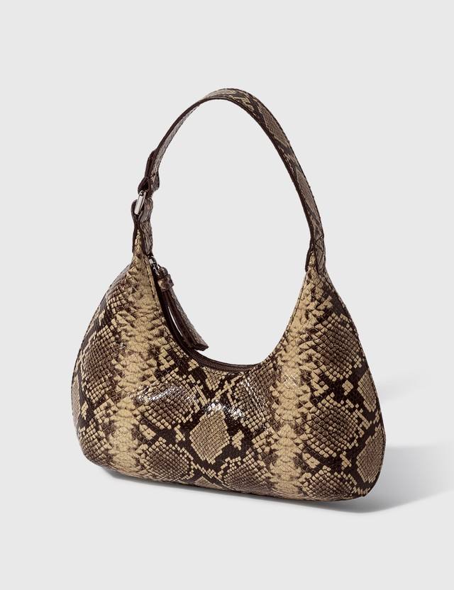BY FAR Baby Amber Mocha Snake Print Leather Bag Mocha Women