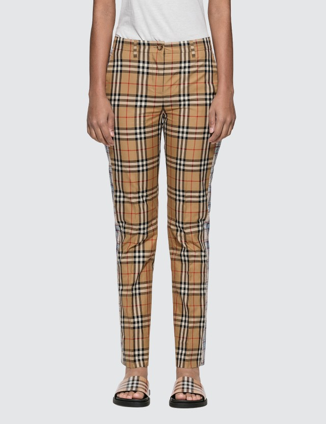 Burberry Straight Fit Contrast Check Cotton Trousers