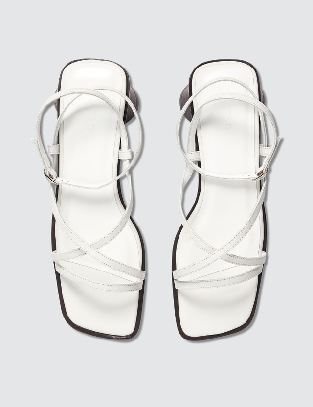 BY FAR Yumi White Leather Sandals