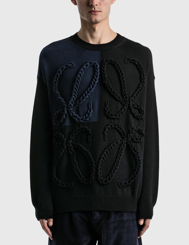 Loewe Anagram Embroidered Sweater Black/navy Blue Men