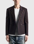 Saint Laurent Double Breasted Short Tailored Jacket In Striped Wool Serge 사진