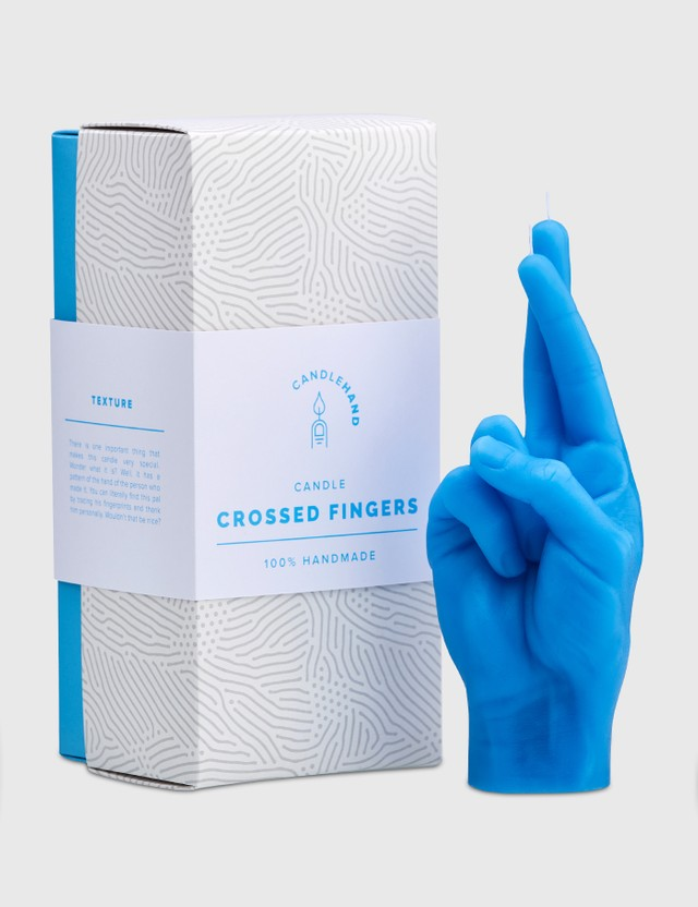 Candle Hand CROSSED FINGERS Candle Blue Unisex