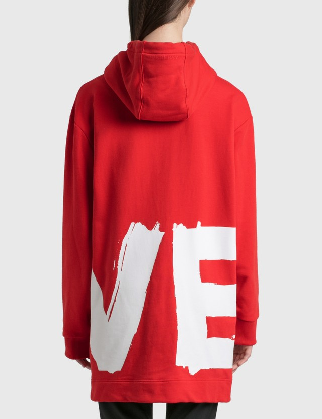 Burberry Love Print Cotton Oversized Hoodie Bright Red Women