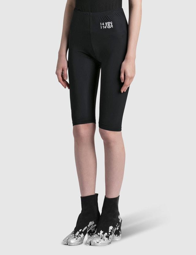 MM6 Maison Margiela Lycra Jersey Cycling Shorts Black Women