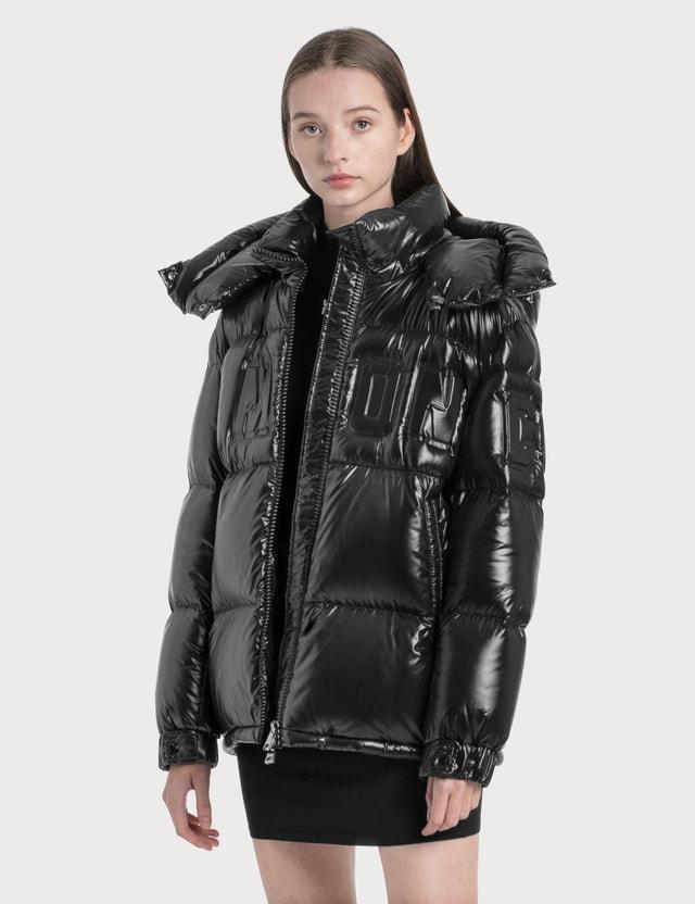Moncler Oversized Logo Down Jacket Black Women