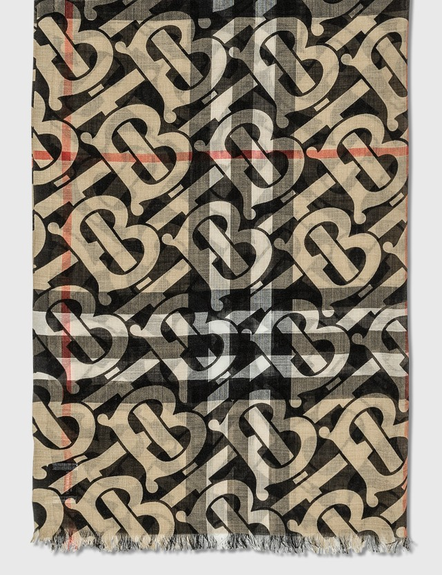 Burberry Monogram Print Lightweight Check Wool Silk Scarf Archive Beige Women