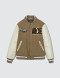 BAPE Bape Leather Sleeve Jacket Beige Picture