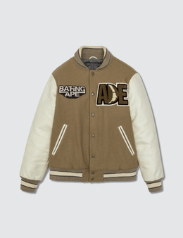 BAPE Bape Leather Sleeve Jacket Beige