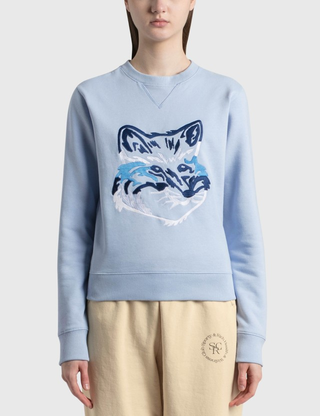 Maison Kitsune Big Fox Embroidery Regular Sweatshirt Light Blue Lb Women