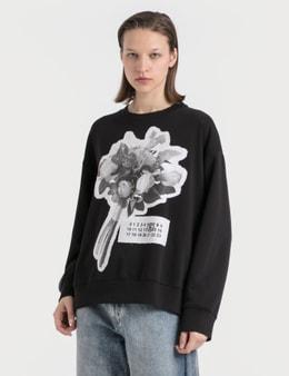 MM6 Maison Margiela Rose Print Oversized Sweatshirt