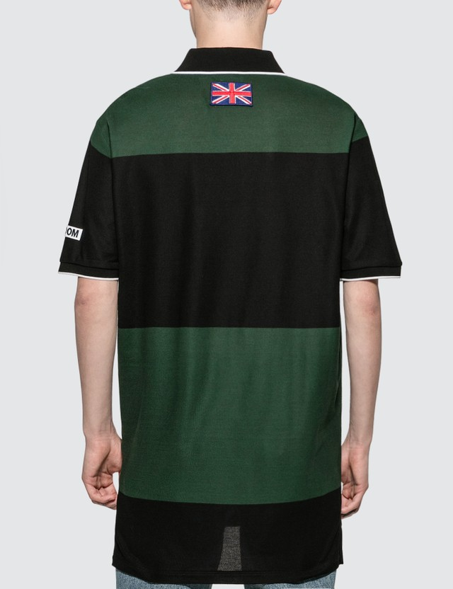Burberry Logo Appliqué Striped Cotton Polo Shirt Dk Pine Green/blk S Men