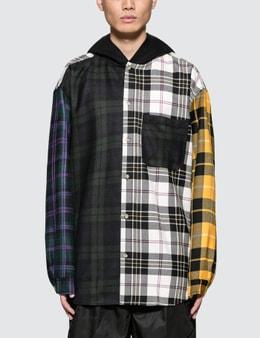 Alexander Wang Multi Plaid Overshirt with Hood