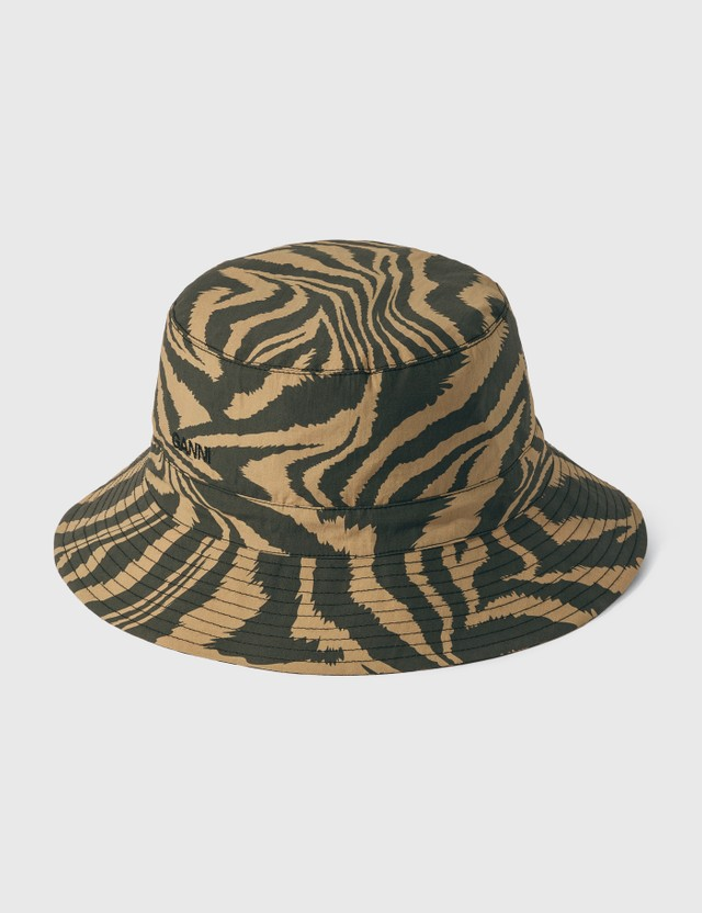 Ganni Printed Cotton Poplin Bucket Hats Tannin 185 Women
