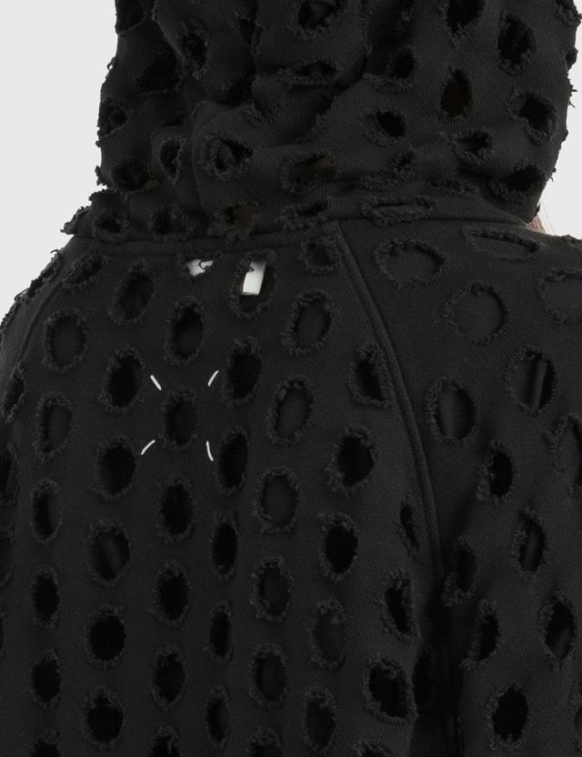 Maison Margiela Punched Oversized Hoodie Black Women
