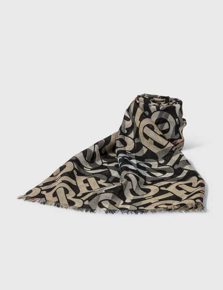 버버리 Burberry Monogram Print Lightweight Check Wool Silk Scarf