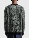 Wacko Maria Leopard Fleece Crew Neck Sweatshirt Gray Men