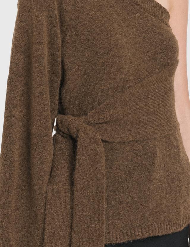 Nanushka Cleto Cold Shoulder Knit Pullover Brown Women