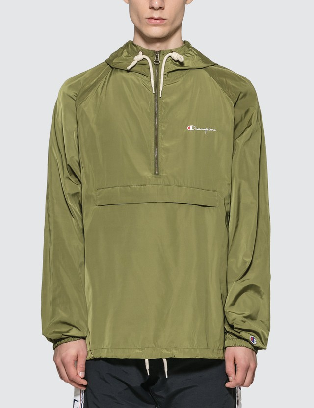 Champion Reverse Weave Hooded Anorak Jacket Olive Men