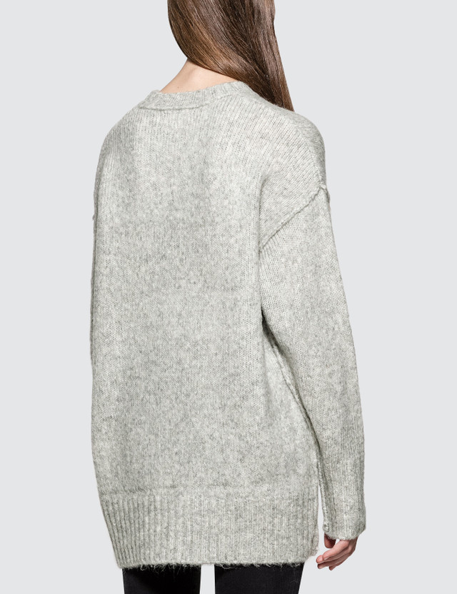 R13 Oversized Crewneck Sweater Heather Grey Women