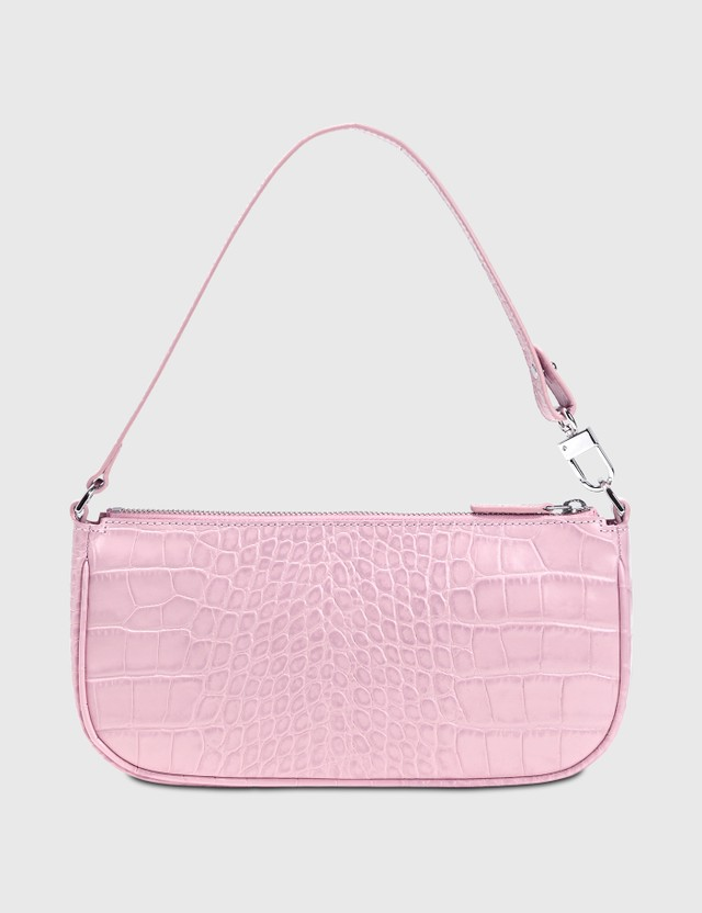 BY FAR Rachel Croco Embossed Leather Bag Pink Women