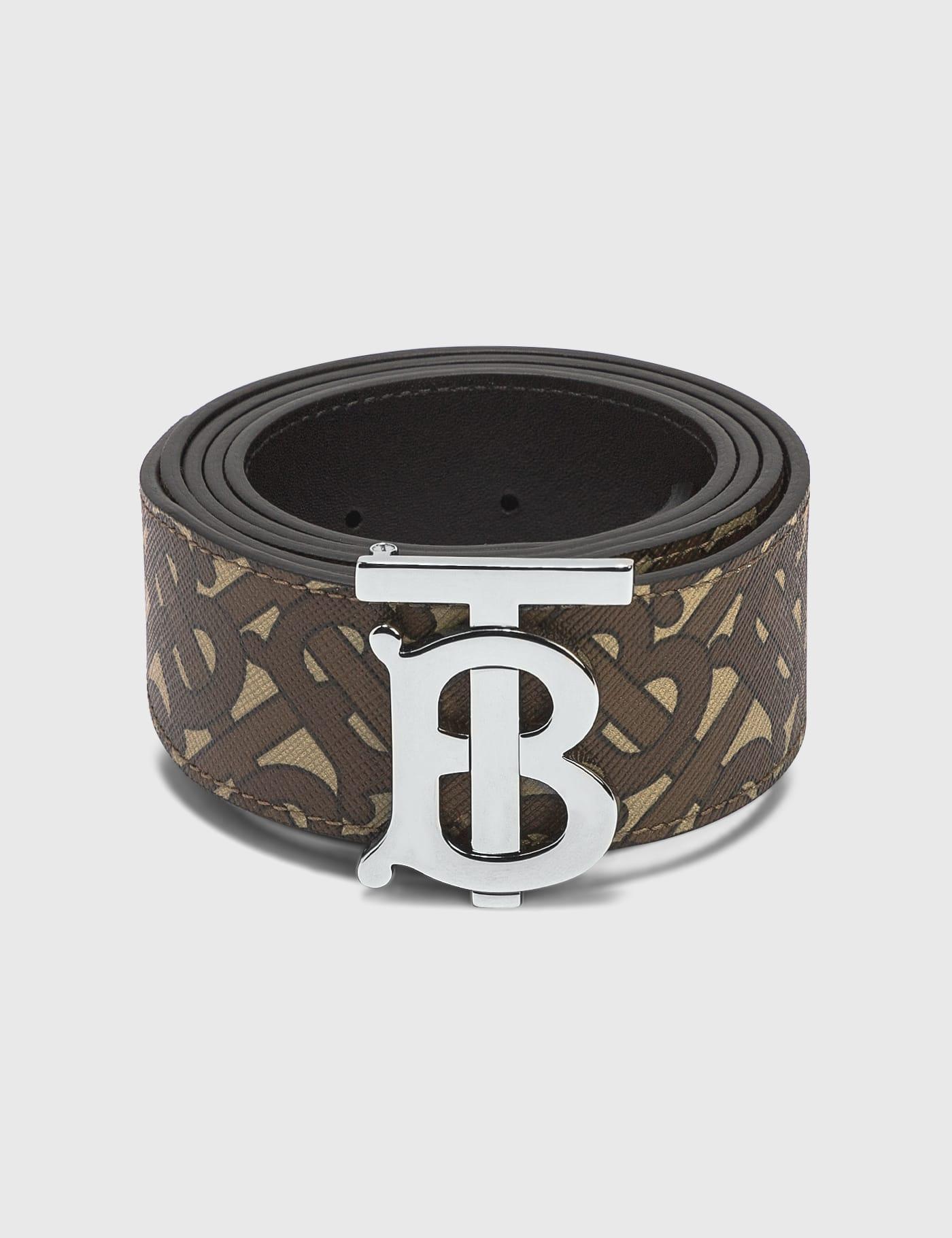버버리 Burberry Monogram Print E-canvas and Leather Belt