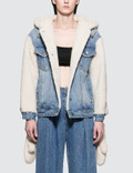 SJYP Sherpa Hoodie Denim Jacket With Gloves Picture