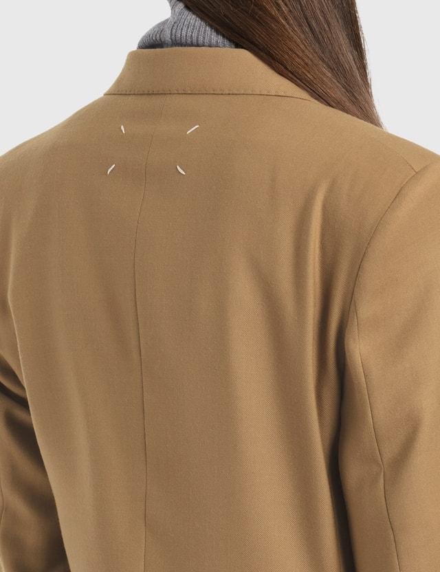 Maison Margiela Wool Blended Gabardine Blazer Camel Women