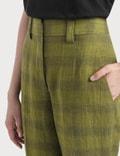Acne Studios Checked Linen-Blend Trousers Green/grey Women