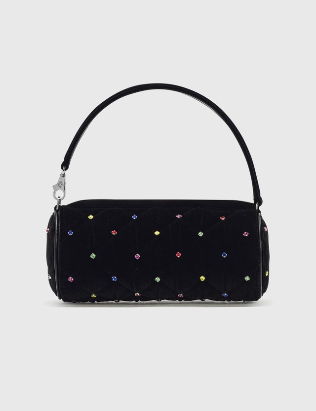 Les Petits Joueurs Bon Bon Quilted Multicolored Crystal Mini Bag Black Velet Women
