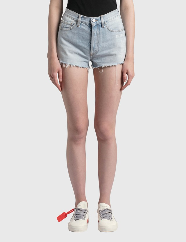 Off-White Denim Shorts Light Blue No Color Women