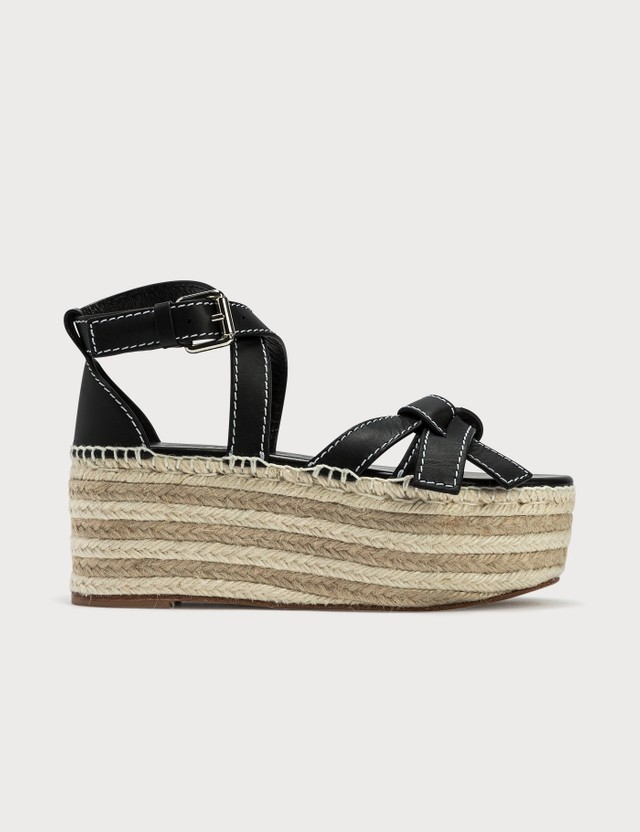 Loewe Gate Wedge Espadrille Sandals Black Women