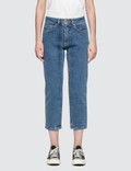 Aalto Cropped Straight Fit Jeans With Pleats Picutre