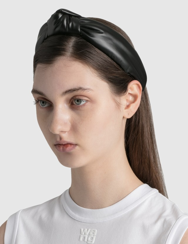 Lele Sadoughi Faux Leather Knotted Headband Black Women